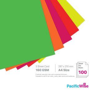 A4 3 Sheet Card 160 GSM Fluorecent Colour (100'S)
