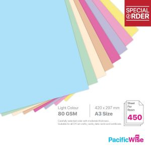 A3 Colour Paper 80GSM Light Colour (450'S)