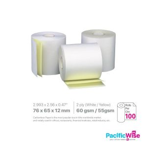 Cash Register Carbonless Paper Rolls 76 x 65 x 12mm W/Y