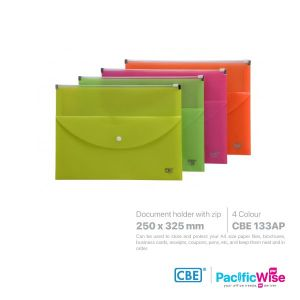 CBE Document Holder with Zipper Slide Closure & Snap Button (Landscape & Large Capacity)