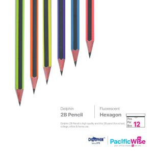 Dolphin 2B Pencil Hexagon Fluorescent Colour (12'S)