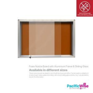 Foam Notice Board with Aluminium Frame & Sliding Glass
