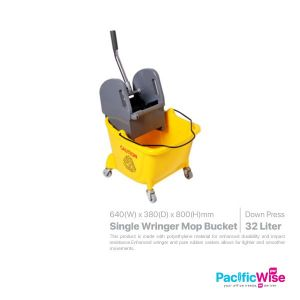 Single Wringer Mop Bucket 32 Litre (Down Press)