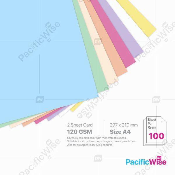 A4/2 Sheet Card/2 Helai Kad 120gsm/Light Colour/Card Stock Paper (100'S)