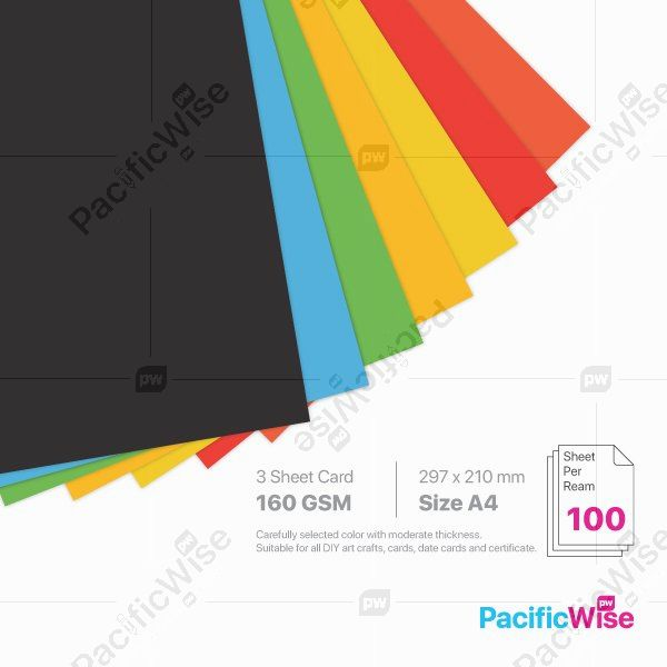 A4/3 Sheet Card/3 Helai Kad 160gsm/Deep Colour/Card Stock Paper (100'S)