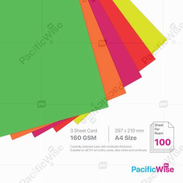 A4/3 Sheet Card/3 Helai Kad 160gsm/Fluorecent Colour/Card Stock Paper (100'S)