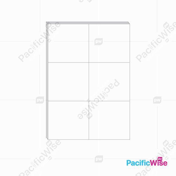 A4 Simili Sticker Label 6 Up 105mm x 99mm (100'S)
