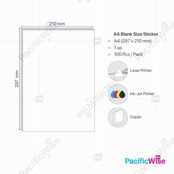 A4/Simili Sticker Label/Label Pelekat Simili/Sticker Label/1 Up/210mm x 297mm (100'S)