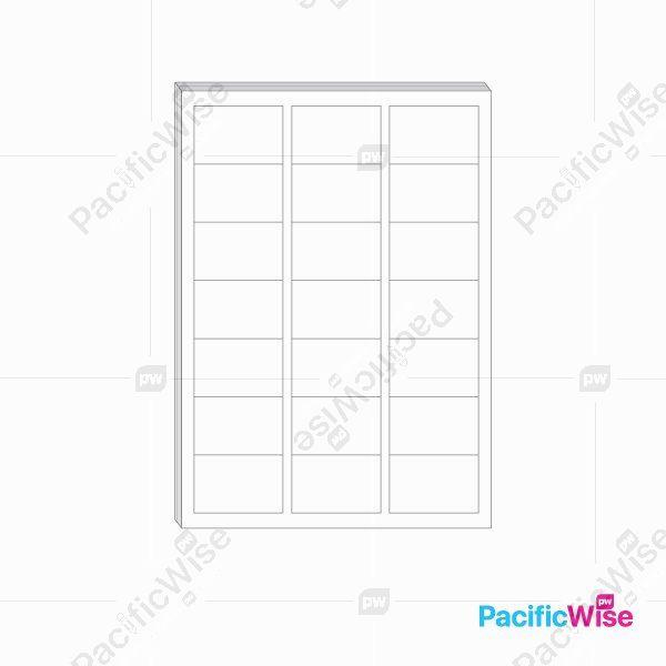 A4/Simili Sticker Label/Label Pelekat Simili/Sticker Label/21 Up/63.5mm x 38mm (100'S)