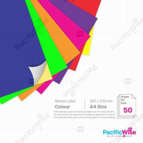 A4/Simili Colour Sticker Label/Label Pelekat Warna Simili/Sticker Label/1 Up/210mm x 297mm (50'S)