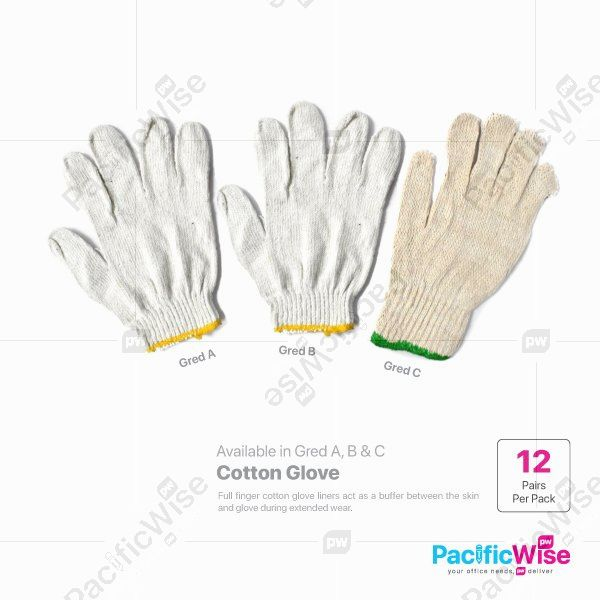 Cotton Gloves/Sarung Tangan Cotton/Gloves/(Gred A/B/C)-12 Pairs/Pack