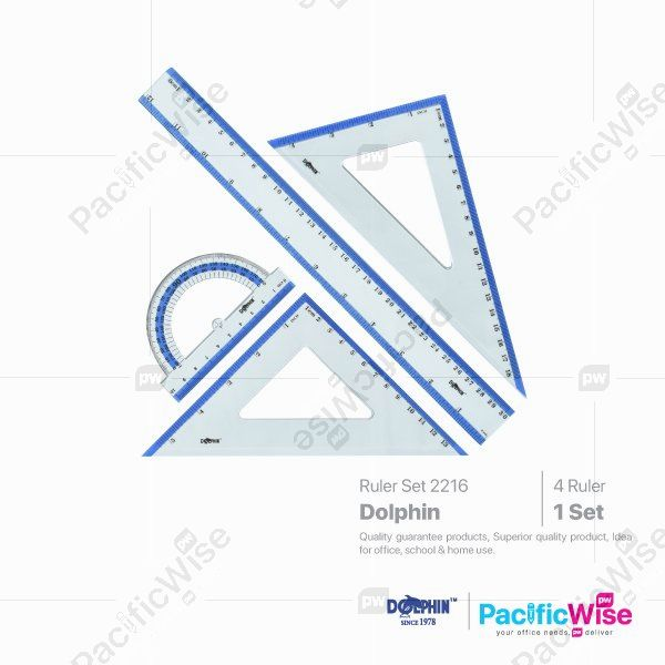 Dolphin/Ruler Set Beready/Set Pembaris Beready/2216