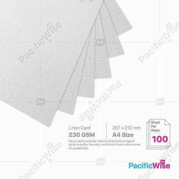A4/Linen Card/Net Skin Card/ Kad Linen/Kad Kulit Bersih 230gsm/Card Stock Paper (100'S)