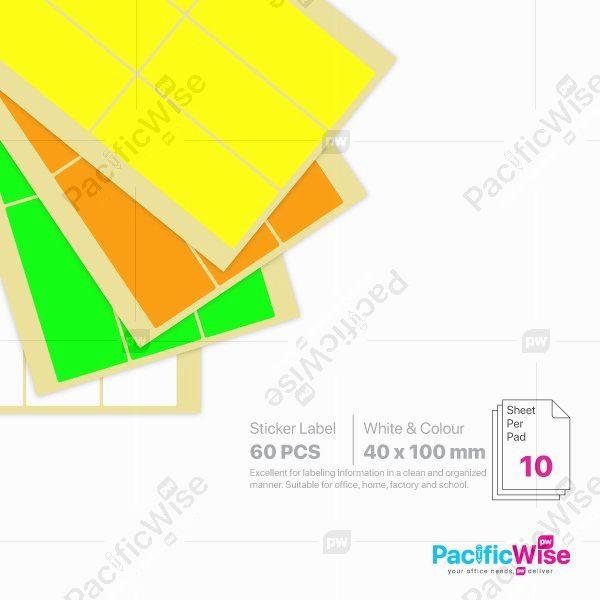 Rectangle Sticker Label 40mm x 100mm