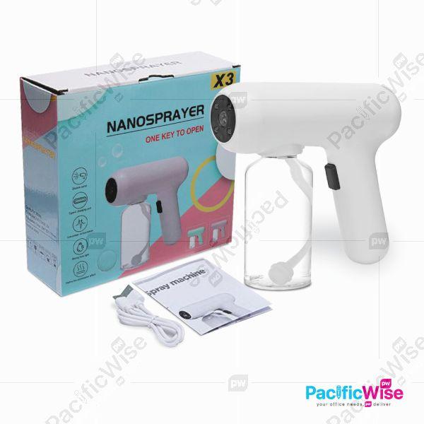 Wireless Nano Spray Machine/Spray Gun Blue Light/Disinfectant Spray Mist Sprayer/Mesin Penyembur/X3