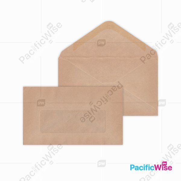 Brown Manila Envelope (Window) 6'' X 3 1/2''