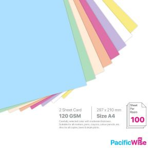 A4 2 Sheet Card 120 GSM Light Colour (100'S)