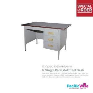 Single Pedestal Steel Desk 4'
