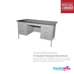 Double Pedestal Steel Desk 5'
