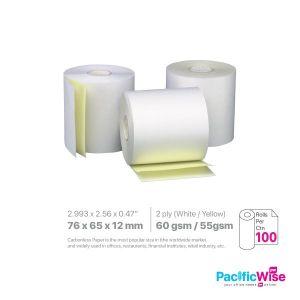 Cash Register Carbonless Paper Rolls/Daftar Tunai Tanpa Karbon/Paper Rolls/76 X 65 X 12mm/(W/Y)/2Ply (100Rolls/Ctn)