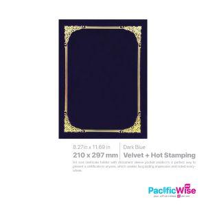 Certificate Holder Velvet with Hot Stamping/Pemegang Perakuan Baldu dengan Setem Panas/CH4C/A4