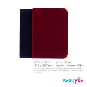 Certificate Holder Velvet with Corner Clip