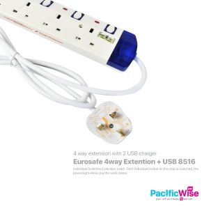 Eurosafe 4way Extention + USB 8516