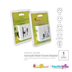 Eurosafe Multi Travel Adaptor  CW USB (W) (ES-995)