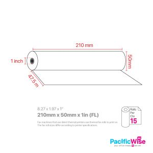 """Fax Rolls/Gulungan Faks/Paper Rolls/210 mm x 50 mm x 1"""" (FL)-(15Rolls/Box)"""