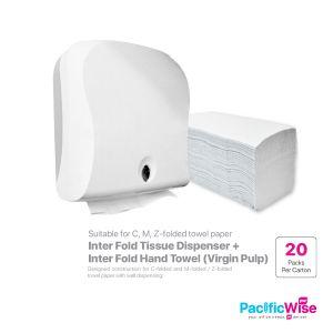 Inter Fold Hand Towel (Virgin Pulp) + Inter Fold Tissue Dispenser (Set)