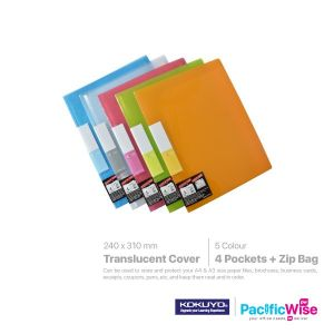 Kokuyo Pocket Book 4 Pockets & Zip Bag Translucent Cover