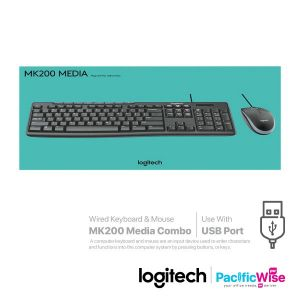Logitech Wired Keyboard & Mouse MK200 Media Combo