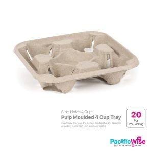 Pulp Moulded 4 Cup Tray (20'S)