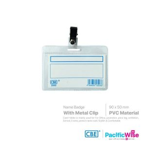 CBE Name Badge With Clip PVC Side Loading