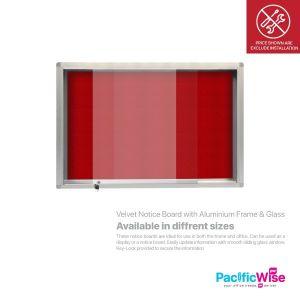 Velvet Notice Board with Aluminium Frame & Sliding Glass