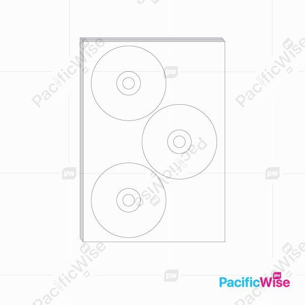 A4 Simili Sticker Label Round Shape 115mm / 41mm / 15mm (100'S)