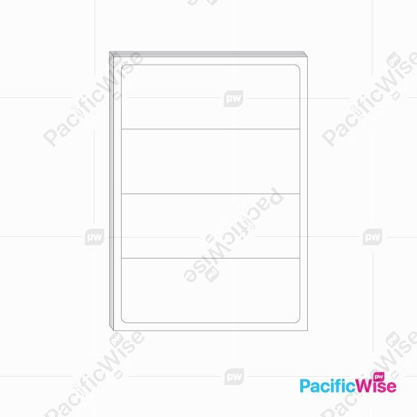 A4 Simili Sticker Label 4 Up 200mm x 70mm (100'S)