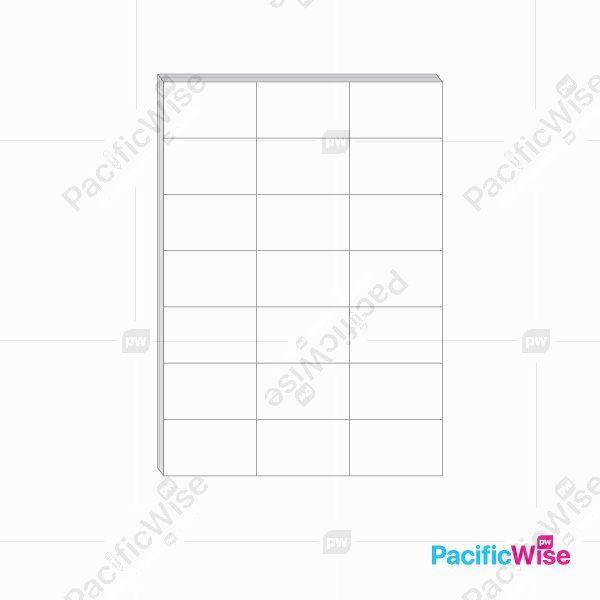 A4 Paper Sticker Label 21 Up 70mm x 42.43mm (100'S)