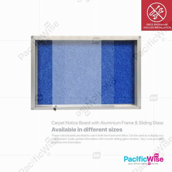 Carpet Notice Board with Aluminium Frame & Sliding Glass
