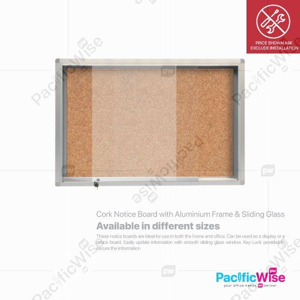 Cork Notice Board with Aluminium Frame & Sliding Glass