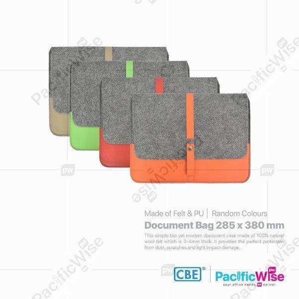 Felt Document Bag with Two PU Pocket