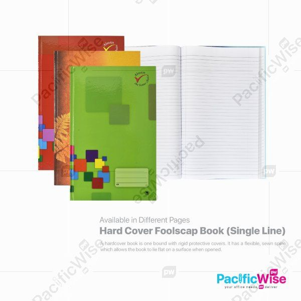 Hard Cover Foolscap Book (Single Line)