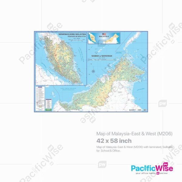 Map of Malaysia-East & West (M206)