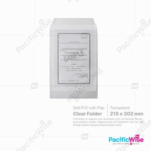 Document Holder Transparent with Flap A4 Size