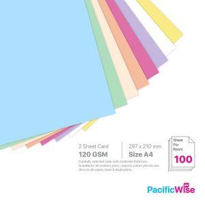 A4 2 Sheet Card 120 GSM Light Colour (100'S)