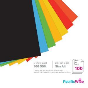 A4 3 Sheet Card 160 GSM Deep Colour (100'S)